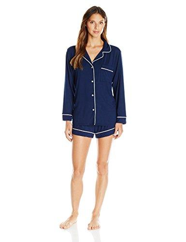 Eberjey Women's Gisele Two-Piece Long Sleeve & Short Pajama Sleepwear Set, Navy/Ivory, Small