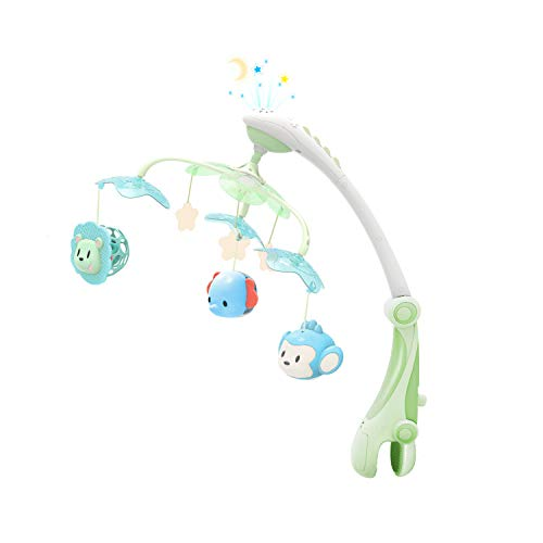 (GrowthPic Musical Baby Crib Mobile with Star Projector Nursery Function, Foldable Arm, Hanging Rotating Safe Infant Playing Teether and Loudspeaker with 30 Melodies, Upgraded Color )