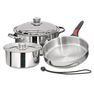 Layer Steel Triple Bottom Stainless - Magma Products, A10-362-IND 7 Piece Induction Cook-Top Gourmet Nesting Stainless Steel Cookware Set
