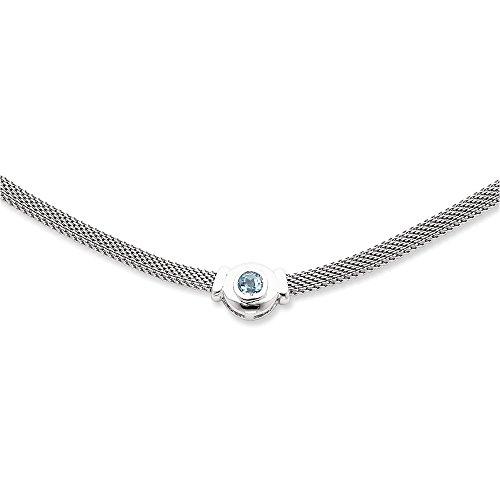 Sterling Silver Blue Topaz & Mesh Fancy Necklace