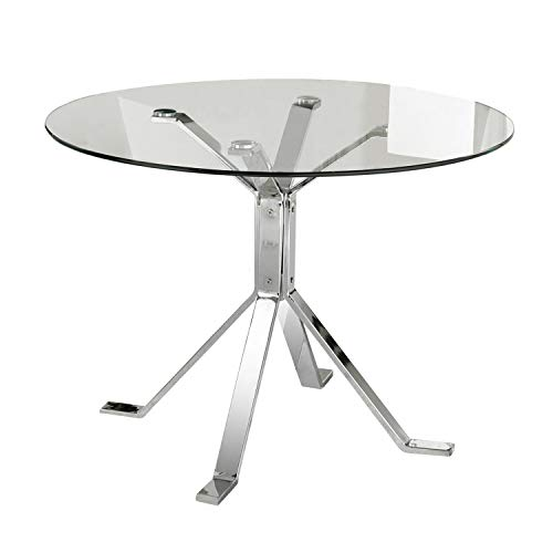 Adec - Ginebra, Mesa de Comedor, Mesa Salon o Cocina, Patas Cromadas y Tablero de Cristal, Medidas: 100 cm (diametro) x 74 cm (alto)