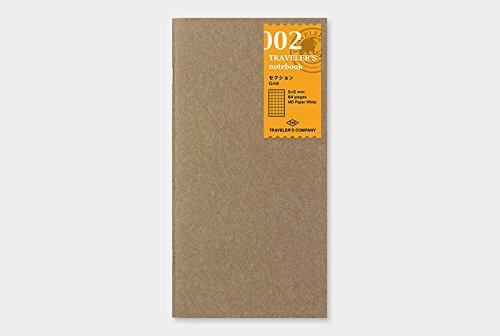 refill 002 kariert Midori Nachf/üllpack f/ür Reise-Notizbuch