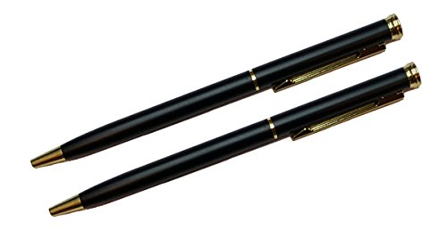 (2 count Matte Black Slim Ball Point Pens Twist-Action, 5.25