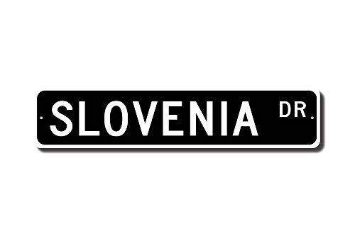 Iliogine Slovenia Gift Slovenia Sign Souvenir Slovenia Native Slovenia Vacation Momento Street Sign Funny Words Tin Sign Gift ()