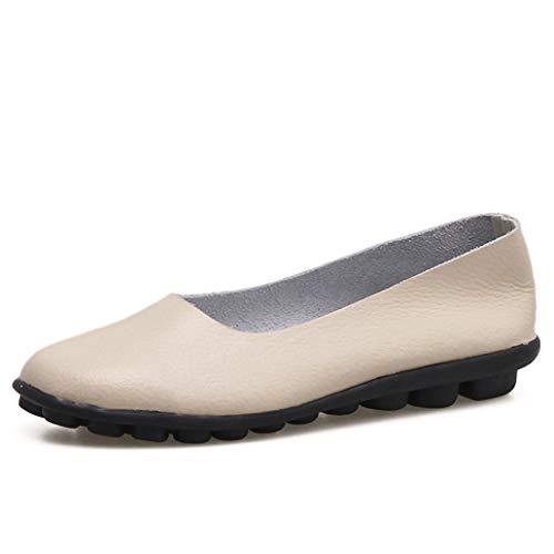 York Zhu 2018 Summer Slip on Women Flats Shoes Black Leather Soft Moccasins ()