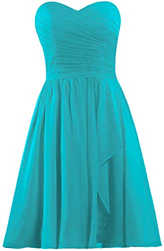 - ANTS Women's Sweetheart Short Bridesmaid Dresses Chiffon Wedding Party Dress Size 8 US Jade