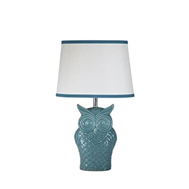 Signature Design by Ashley L846554 Owl Blue Glaze Table Lamp
