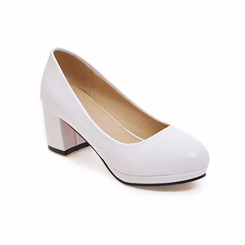 Altos Tabla Puro de de Zapatos Color Profesionales White Zapatos de Tallas Grandes Impermeable Tacón Tacones XwSqct4