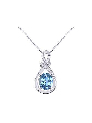Tigers Script Necklace - RYLOS Simply Elegant Beautiful Blue Topaz & Diamond Pendant/Necklace - December Birthstone