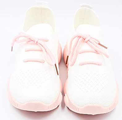 Fashion Sneakers For Kids Size, White and Pink