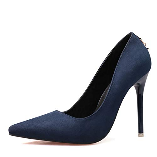 (Drew Toby Women Pumps Suede Shallow Mouth Pointed Toe Fashion Simple Sexy OL High Heels)