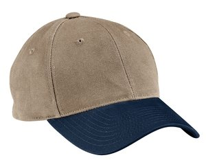 Port Authority Two-Tone Brushed Twill Cap. C815 Khaki/Navy ()