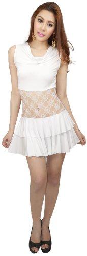 Corpetto Abito E Clubwearguru Clubwear Orlo Arruffate Womens Pizzo Mini Bianco Di Collo Cappuccio 4vaPnqn