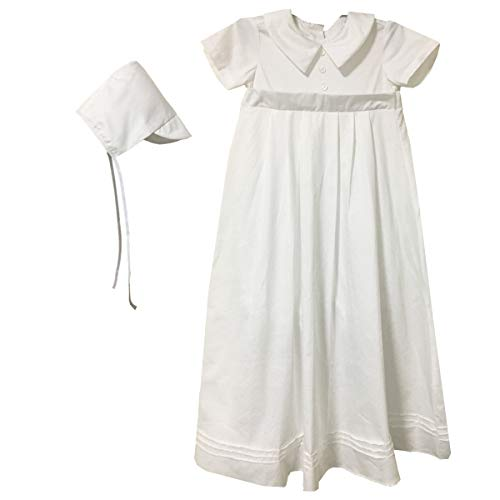 BBVESTIDO Baptism Gown with Romper for Boys Cotton Long Christening Dress White 6-9 10-12 Months