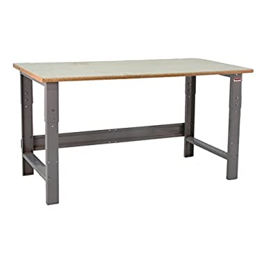 BenchPro RPB2448 Roosevelt Heavy Duty Steel Garage Work Bench with HD Particle Board Top, 1600 lbs Capacity, 48  Width x 30-36  Height x 24  Depth
