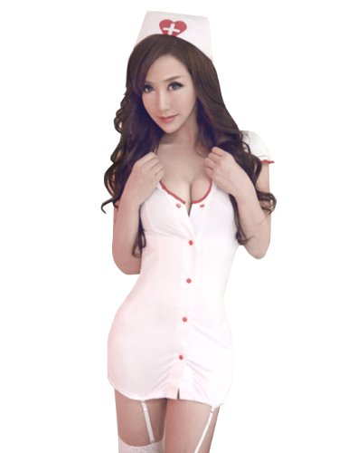 Sexy White Nurse Uniform Costume Cosplay Lingerie Mini (Sexy Nurse Dress Up)