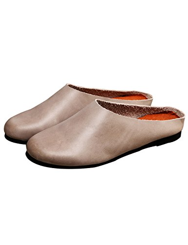 Slippers Shoes Flats Leather Toe Round Grey Non Women's Zoulee slip qB80Tw
