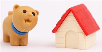 Goma de borrar perro marrón caseta roja de Iwako