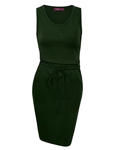 Drawstring Neck Dress (Doublju Womens Basic Round Neck Drawstring Waist Bodycon Tank Dress With Pockets DEEPGREEN X)