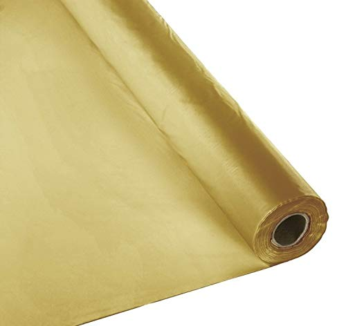Schorin Plastic Party Banquet Table Cover Roll - 300 ft. x 40 in. - Disposable Tablecloth (Gold)]()