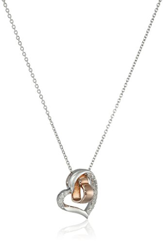 Sterling Silver with Rose Gold Plating Diamond Double-Heart Pendant Necklace (1/10 cttw, I-J Color, I3 Clarity), 18""
