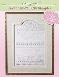 Sweet Child's Birth Sampler (Leaflet 166) Cross Stitch Chart and Free Embellishment