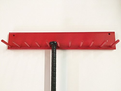 Baseball Bat Rack Display Holder 10 Full Size Bats Red by MWC
