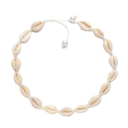 (TIKCOOL Pearls Shell Choker Necklace for Women Seashell Anklets Bracelets Set Cord Hemp Cowrie Shell Necklace Summer Beach Jewelry (Shell Necklace#1))