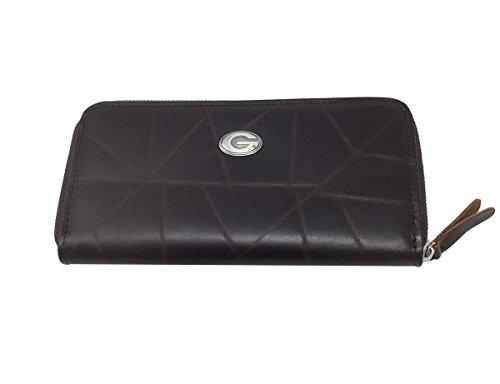 NCAA University of Georgia Brown Wrinkle Zipper Long Wallet, 8