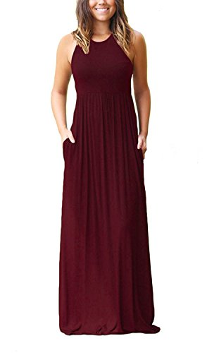 GRECERELLE Women's Sleeveless Casual Loose Pockets Maxi Party Long Dresses Wine Red-L