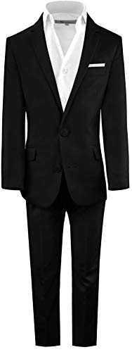 Black n Bianco Boys' First Class Slim Fit Suits Lightweight Style. Presented by Baby Muffin (18, Midnight -