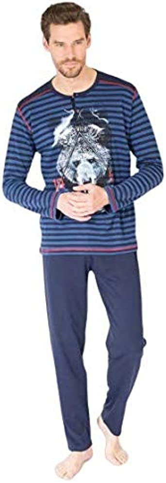 MASSANA Pijama Hombre Lobo, Pijama Azul de Invierno, Algodón