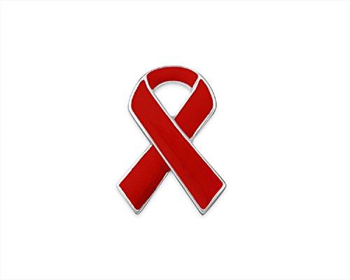 AIDS/HIV Awareness Ribbon Pin (01 Pin, Small Red Ribbon Pin)