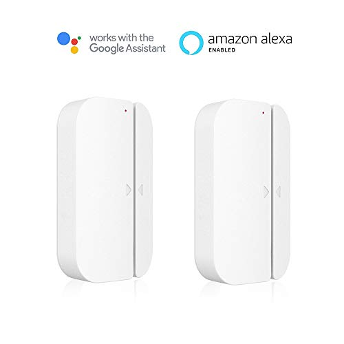 Wi-Fi Door Window Sensor, Aicliv Smart Magnetic Door Sensors App Remote Doorbell Chime Alarm System for Home Security Business Burglar Alert, Compatible with Alexa Google Home IFTTT, 2 Packs by AICLIV