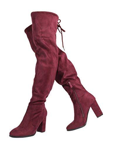 DREAM PAIRS Women's New Shoo Burgundy Over The Knee High Heel Boots Size 8 B(M) US