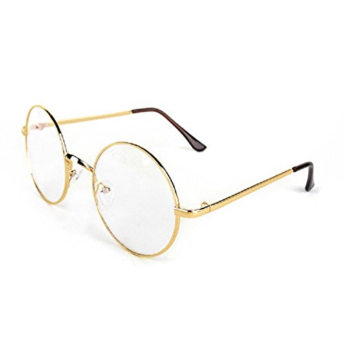 Nicky Bigs Novelties Gold Metal Wire Frame Round Clear Lens Circle Eye Glasses Nerd Santa - Glasses Wire Circle Frame