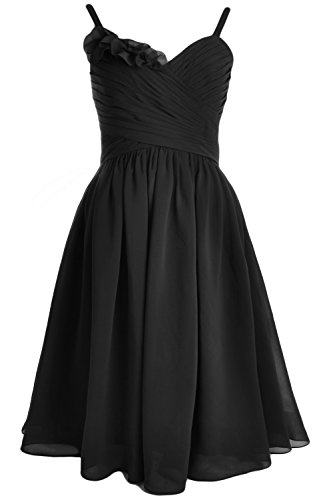 MACloth Women Straps Chiffon Short Bridesmaid Dress Wedding Party Formal Gown Negro