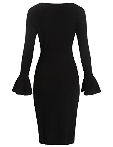 Les Femmes Des Femmes Burlady Sexy V-cou Longue Robe Moulante Cloche De Cocktail Noir À Manches