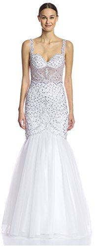 Terani Couture Women's Beaded Illusion Trumpet Gown, White, 12 US (Illusion White)