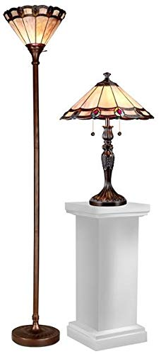 Table & Torchiere Set Dale Tiffany Peacock 3-Light Dark Antique Bron (Peacock Metal Floor Lamp)