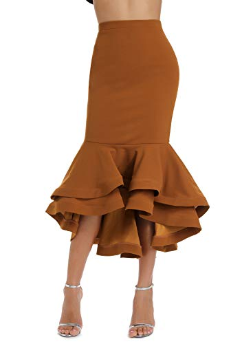 Women's Vintage High Waist Wear to Work Bodycon Mermaid Pencil Skirt Brown