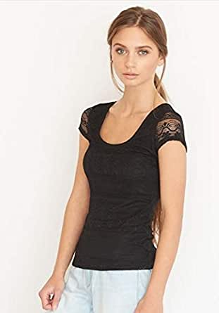 Garage Black Lace Round Neck T-Shirt For Women
