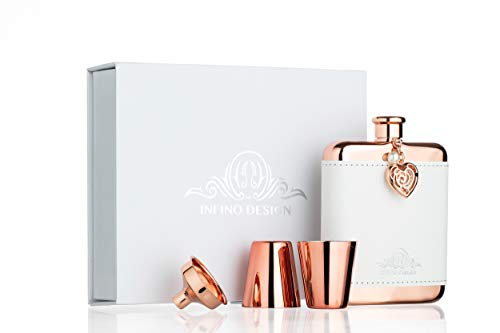 Infino Design Hip Flask Luxury Gift Set for Women, Rose Gold, Jewel and White Leather Cover, 18/8 Stainless Steel 6 Oz, Fits for Handbag, Pocket and Jacket ()