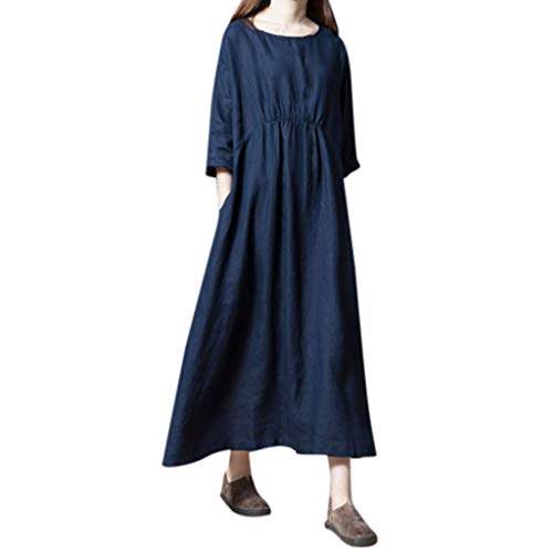 Zlolia Women's 3/4 Sleeve T-Shirt Straight Dress Solid Color with Pocket Skirt Simple Casual Dresses