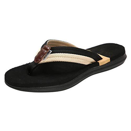 Original Orthotic Comfort Thong Style Sandals & Flip Flops for Women,FAPIZI Arch Support for Comfortable Walk Black ()