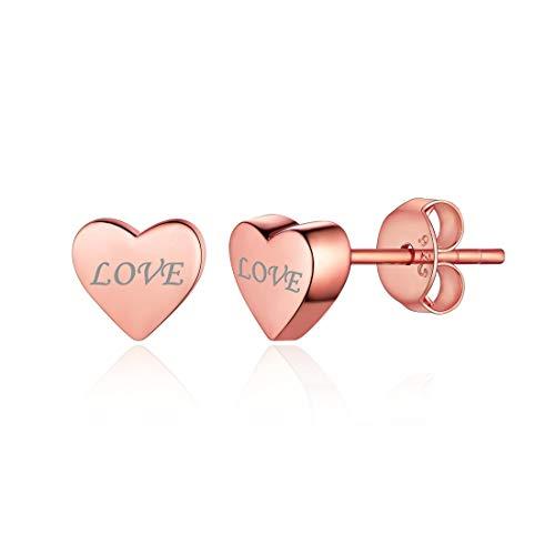 (Rose Gold Plated Sterling Silver Minimalist Heart Earrings Studs Mini Dainty Love Heart Stud Earrings for Women)