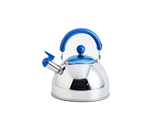 Kettle, suitable for home kitchen, stainless steel thickened kettle, outdoor, induction cooker gas stove whistle teapot, green, blue, pink, 2.5L very beautiful (Color : Blue, Size : 2.5L)