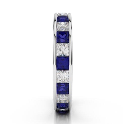 G-H/VS 2,25CT Coupe ronde sertie de diamants Saphir et Full Eternity Bague en platine 950Agdr-1134