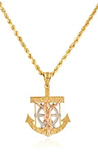 14K Gold Cross-Anchor Nugget Pendant with a 14K 24 Inch Rope Chain Necklace