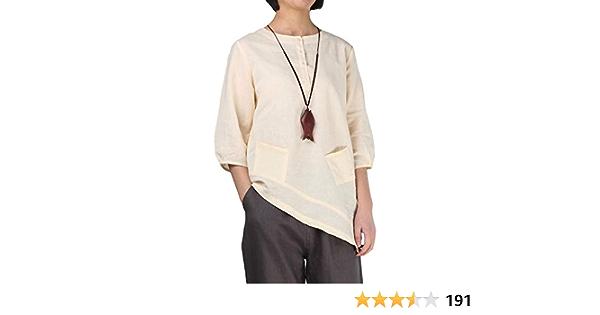 Minibee Blusa tipo túnica de lino para mujer con manga de codo y bolsillos